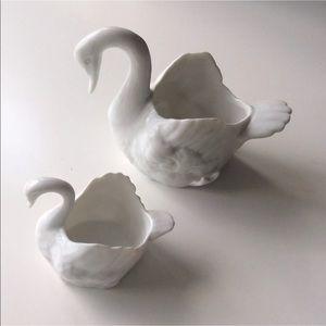 White Porcelain Swan Dish Figurine Pair | Wedding